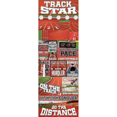 "Reminisce Real Sports Cardstock Stickers 4.25""X13""-Track Graphic"