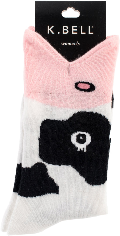K Bell Wide Mouth Novelty Crew Socks-Cow