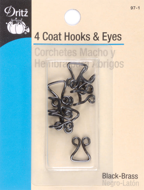 Dritz Coat Hooks & Eyes 4/Pkg-Black