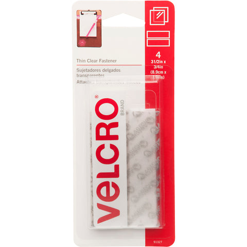 "VELCRO(R) Brand Thin Fasteners Tape .75""X3.5"" 4/Pkg-Clear"