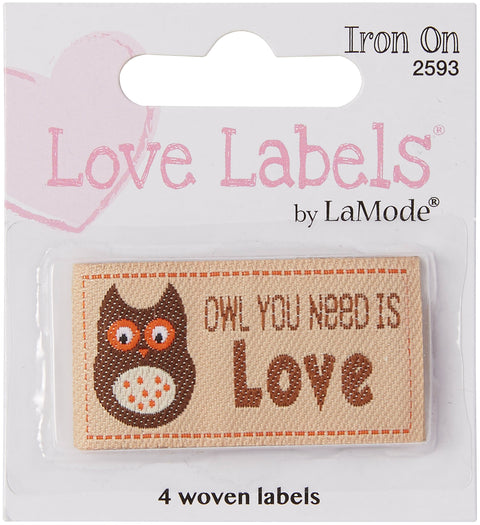 Blumenthal Iron-On Lovelabels 4/Pkg-Owl You Need Is Love