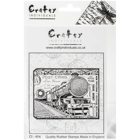 "Crafty Individuals Unmounted Rubber Stamp 4.75""X7"" Pkg-Chunky Steam Train Tag"
