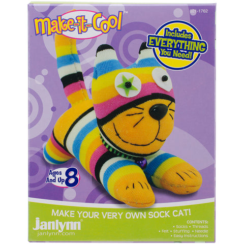 Janlynn Sock Animal Kit-Claire The Cat
