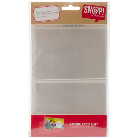 "Simple Stories Sn@p! Pocket Pages For 4""X6"" Binders 10/Pkg-(2) 3""X4"" Horizontal"