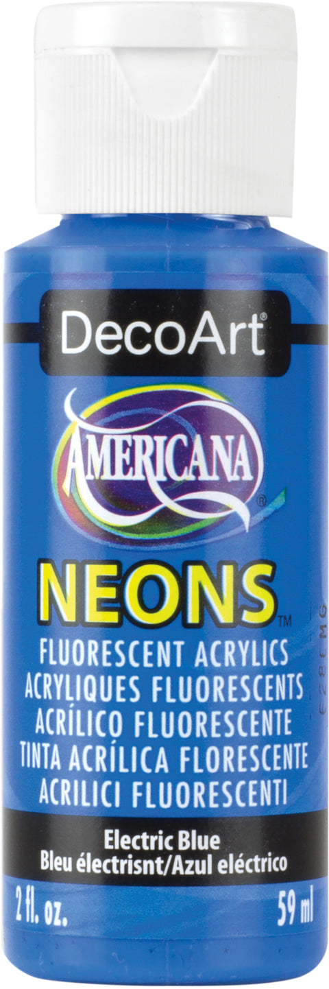 Americana Neons Fluorescent Acrylic Paint 2oz-Electric Blue