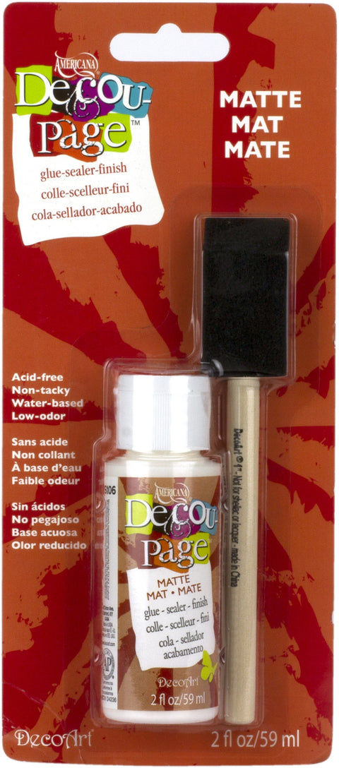 Americana Decou-Page W/Foam Brush Carded-2oz Matte