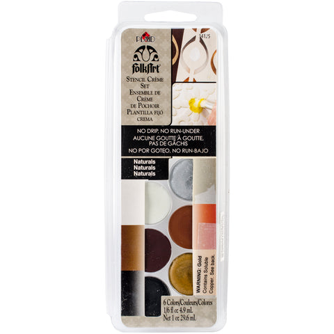 FolkArt Stencil Cream Paint Set 6/Pkg-Naturals