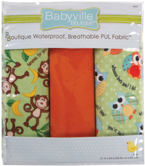 "Babyville Boutique PUL Fabric Packaged 21""X24"" Cuts-Playful Friends Monkey &"