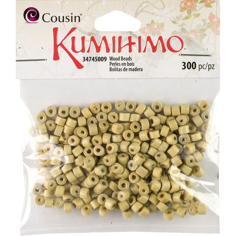 Kumihimo Rondelle Wood Beads 3mmX5mm 300/Pkg-Natural