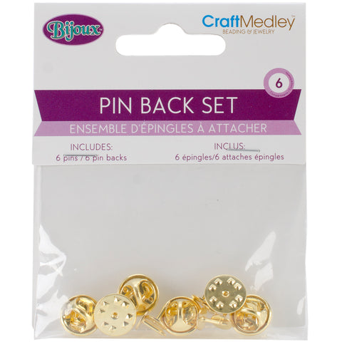 Pin Back Sets 6/Pkg-Gold
