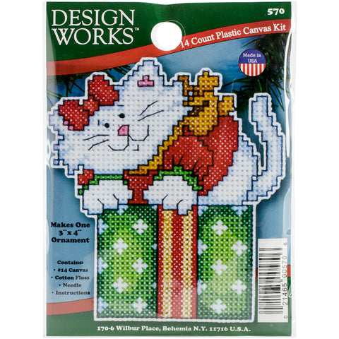 "Design Works Plastic Canvas Ornament Kit 4""X3""-Cat In Box (14 Count)"