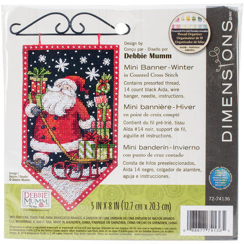"Dimensions/Debbie Mumm Counted Cross Stitch Kit 5""X8""-Winter Banner (14 Count)"