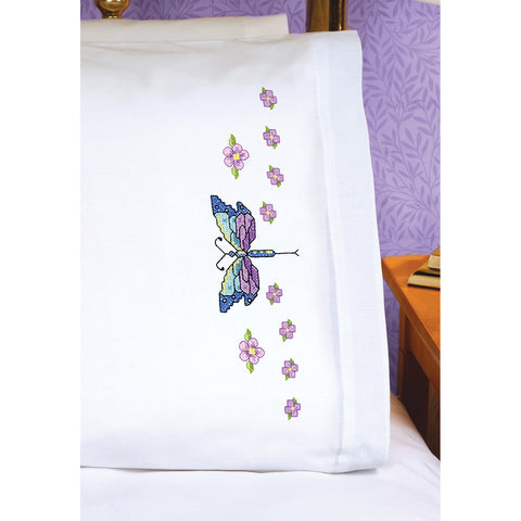 "Janlynn Stamped Cross Stitch Pillowcase Pair 20""X30""-Dragonfly"