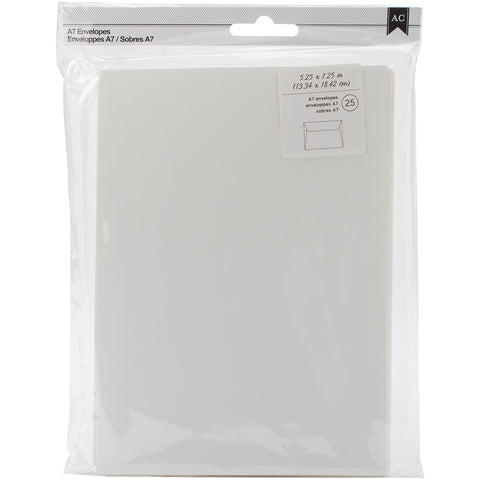"American Crafts A7 Envelopes (5.25""X7.25"") 25/Pkg-Ivory"