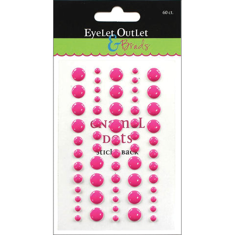 Eyelet Outlet Adhesive-Back Enamel Dot 60/Pkg-Dark Pink