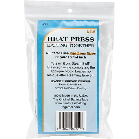"Heat Press Batting Together Applique Tape - White-.25""X30yd"
