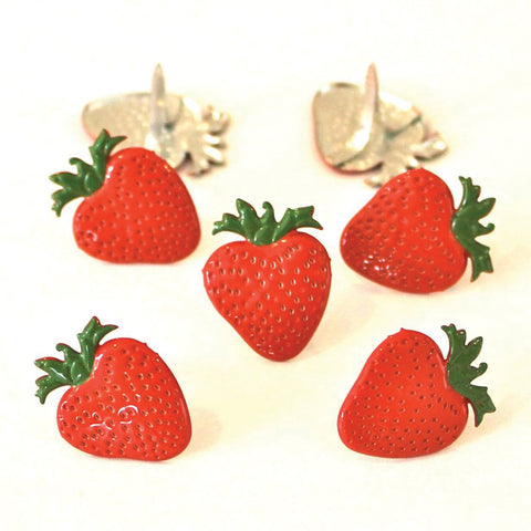 Eyelet Outlet Shape Brads 12/Pkg-Strawberries
