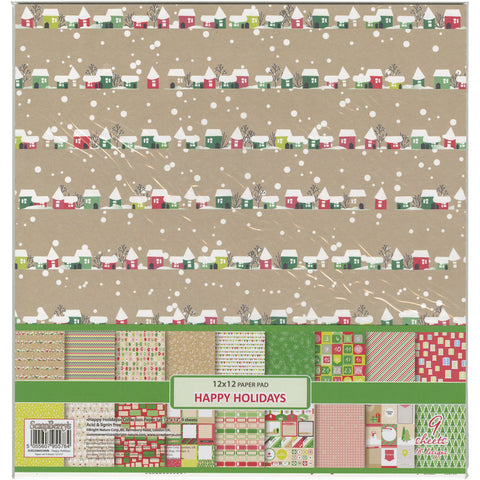 "ScrapBerry's Happy Holiday Paper Pack 12""X12"" 9/Pkg-"