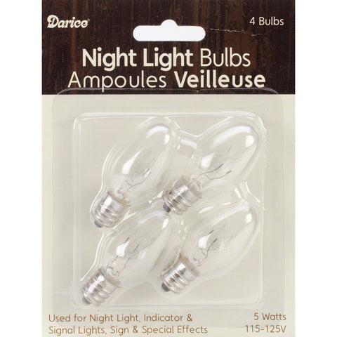 Night Light Bulbs 4/Pkg-5w
