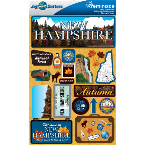 "Reminisce Jet Setters State Dimensional Stickers 4.5""X7.5""-New Hampshire"