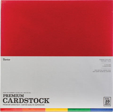 "Darice Value Pack Canvas Cardstock 12""X12"" 20/Pkg-Over The Rainbow Assortment"
