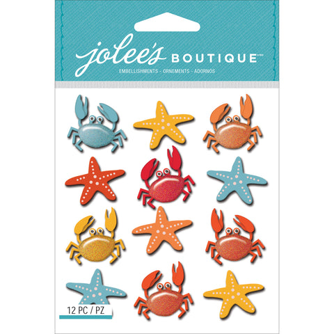 Jolee's Cabochon Dimensional Repeat Stickers-Crabs & Starfish