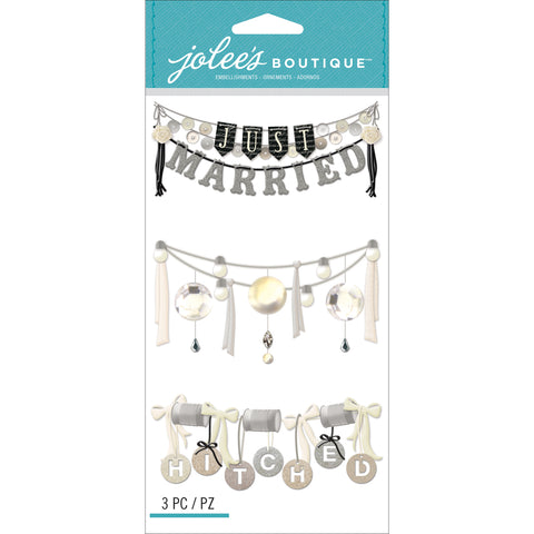 Jolee's Le Grande Dimensional Stickers-Wedding Words Garland