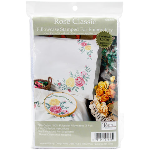 "Tobin Stamped For Embroidery Pillowcase Pair 20""X30""-Rose Classic"