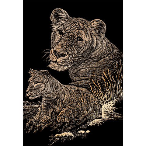 "Copper Foil Engraving Art Kit 8""X10""-Lioness & Cub"
