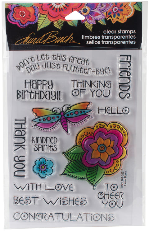 Stampendous Laurel Burch Clear Stamps -Floral Greetings