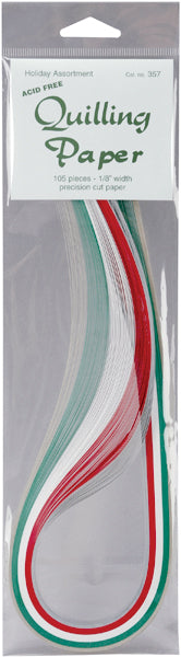 "Lake City Craft Quilling Paper .125"" 105/Pkg-Holiday (5 Colors)"