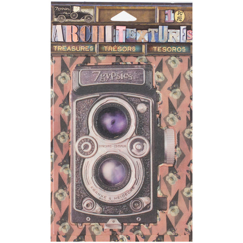 7 Gypsies Architextures Treasures Adhesive Embellishments-Vintage Style Camera