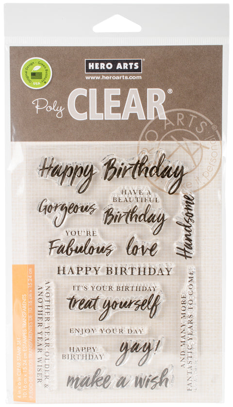 "Hero Arts Clear Stamps 4""X6""-Birthday Messages"