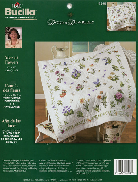 Bucilla/Donna Dewberry Lap Quilt Stamped Cross Stitch Kit-Year Of Flowers