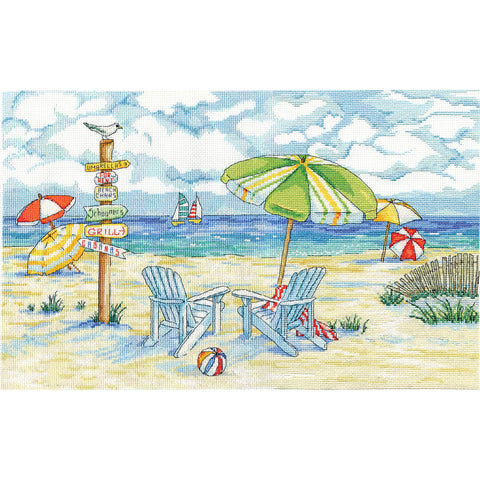 "Design Works Counted Cross Stitch Kit 11""X18""-Beach Signs (14 Count)"