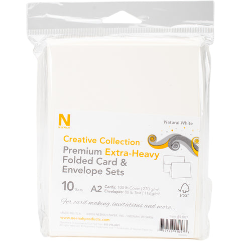 Neenah A2 Heavy Weight Cards/Envelopes 10/Pkg-Natural White