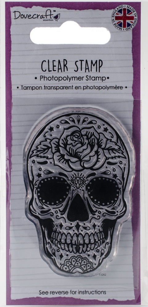 Dovecraft Clear Stamp-Skull & Rose
