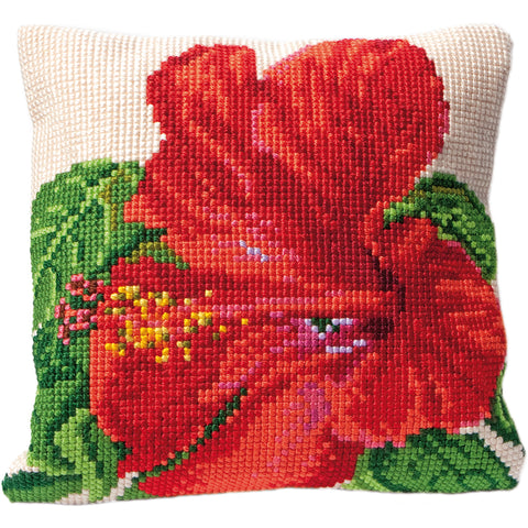 "Thea Gouverneur Cushion Tapestry Kit 15.75""X15.75""-Hibiscus Stitched In Floss"