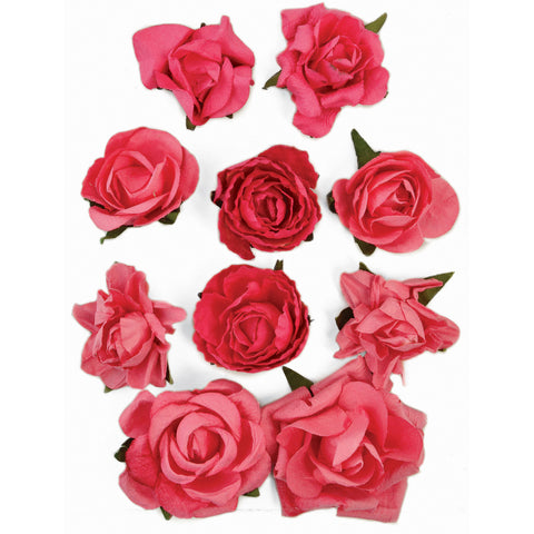 "Kaisercraft Paper Blooms 10/Pkg-Hot Pink, 1"" - 1.5"""