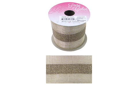"Morex Ribbon Regal Linen 2.5""x 3yd Gold/Gold"