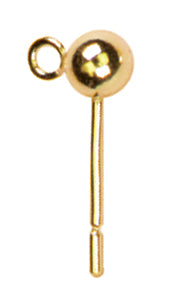 14k Plated Gold Elegance Beads & Findings-Posts W/4mm Balls 4/Pkg