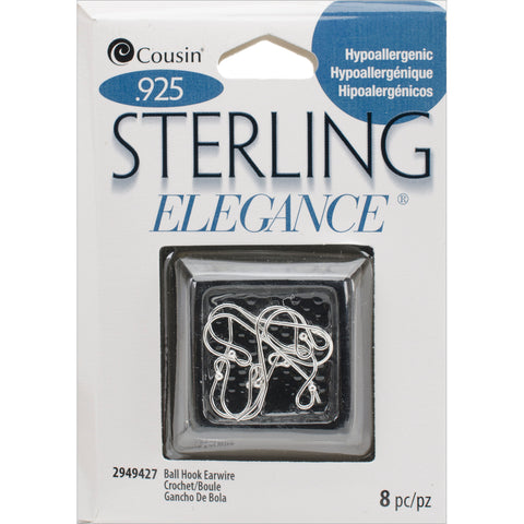 Sterling Elegance Genuine 925 Silver Beads & Findings-Small Ball Hooked Earrings