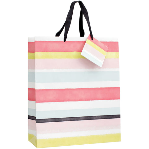 "Gift Bag W/Ribbon Handles & Gift Card 12""X10""X5""-Tropic Horizontal Stripe W/Spot"
