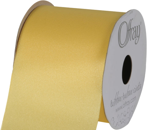 "Offray Seamaid Ribbon 2-1/2""X21'-Baby Maize"