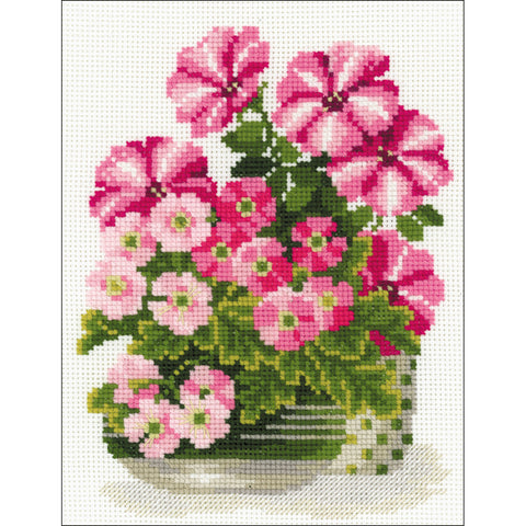 "RIOLIS Counted Cross Stitch Kit 7.75""X10.25""-Petunias & Primroses (10 Count)"