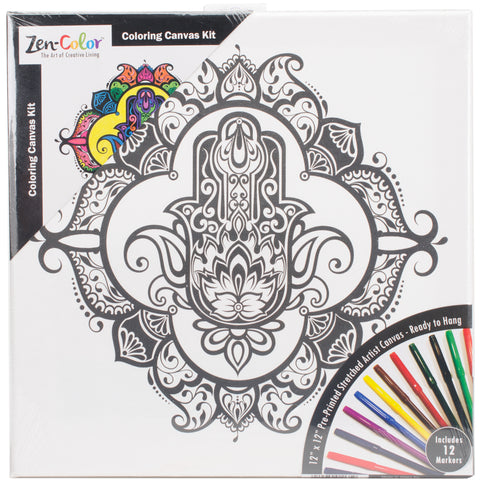 "Adult Coloring Canvas 12""X12"" W/12 Markers-Hamsa"