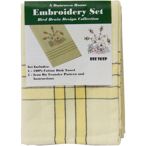 "Dunroven Kitchen Stitches Embroidery Tea Towel Set 20""X28""-Bee Skep Bird Brain"