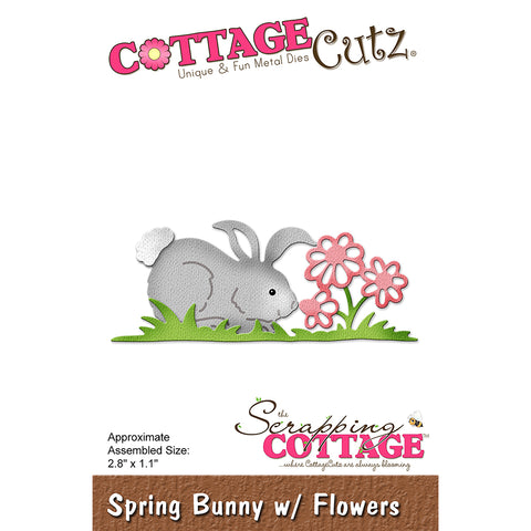 "CottageCutz Dies-Spring Bunny With Flowers, 2.8""X1.1"""