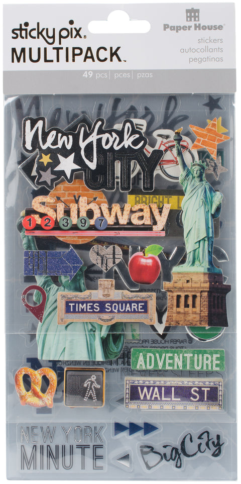 Paper House Mixed Media Multipack Stickers-New York City