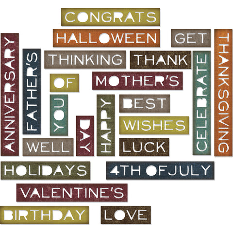 Sizzix Thinlits Dies By Tim Holtz 23/Pkg-Sentiment Words, Thin